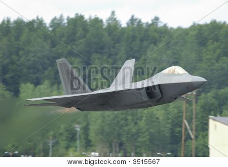 Fighter F-22 Raptor In Airshow