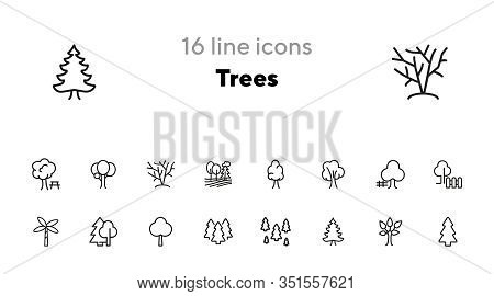 Trees Line Icon Set. Fir Tree, Forest, Palm. Nature Concept. Can Be Used For Topics Like Park, Count