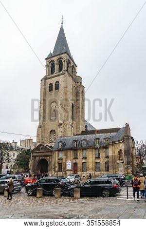 Paris, France - January 20, 2019: Ancient Church Saint Germain Des Pres