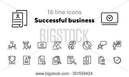 Successful Business Line Icon Set. Approved Document, Celebrating Team, Cup, Reward. Business Concep