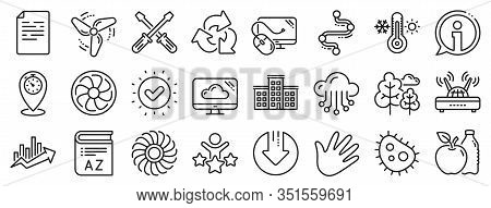 Turbine, Wind, Thermostat Icons. Company Building, Vocabulary, Profits Timeline Line Icons. Tree, Ba
