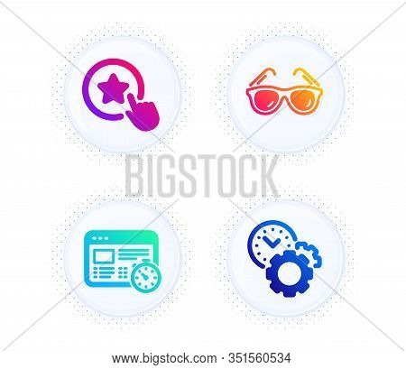 Web Timer, Loyalty Star And Sunglasses Icons Simple Set. Button With Halftone Dots. Time Management
