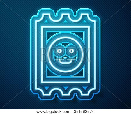 Glowing Neon Line Lsd Acid Mark Icon Isolated On Blue Background. Acid Narcotic. Postmark. Postage S