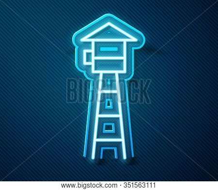 Glowing Neon Line Watch Tower Icon Isolated On Blue Background. Prison Tower, Checkpoint, Protection