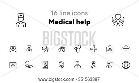 Medical Help Icon Set. Hospital Concept. Vector Illustration Can Be Used For Topics Like Apothecary,