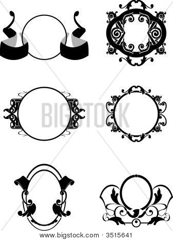 Vector illustration of retro frames and decorative patterns poster