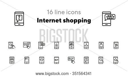 Internet Shopping Icon Set. Line Icons Collection On White Background. Coupon, Smartphone, Clothing.