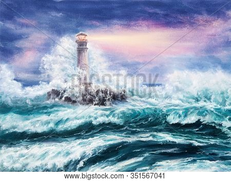 Original Oil Painting Of  Lighthouse During Storm On Canvas.purple Sunset Over Ocean.modern Impressi