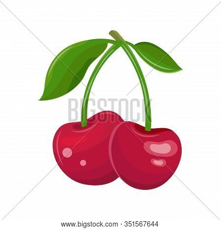 Red Cherry On A White Background. Two Cherries On A Branch With Leaves. Juicy Maroon Berry. Sweet Fr