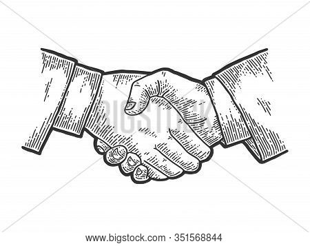 Businessman Handshake Sketch Engraving Vector Illustration. T-shirt Apparel Print Design. Scratch Bo