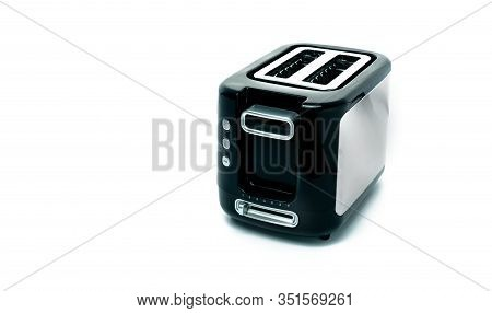 Black Toaster Isolated On White Background. Brushed Stainless Steel Toaster For Bread Toast. Two Slo