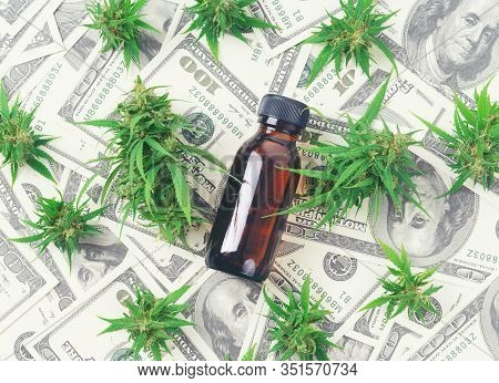 Cannabis With Cannabidiol Extract On Hundred Dollar Banknote