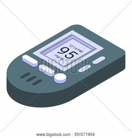 Glucose Meter Icon. Isometric Of Glucose Meter Vector Icon For Web Design Isolated On White Backgrou