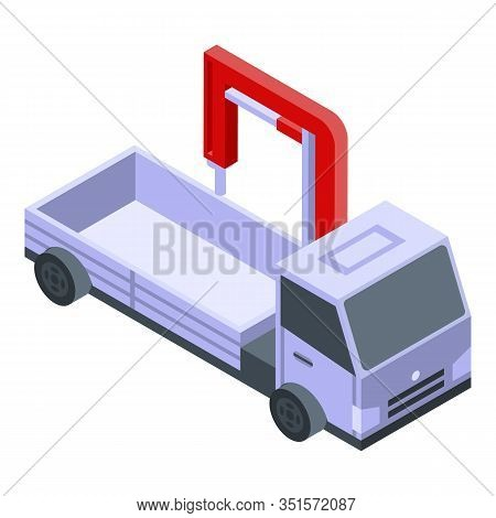 Crane Tow Truck Icon. Isometric Of Crane Tow Truck Vector Icon For Web Design Isolated On White Back
