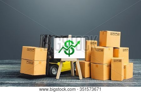 Forklift Near Boxes And Easel With Green Dollar Arrow Up. Growth Trade And Production Rates, Increas