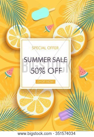 Fruit summer sale colorful banners with oranges. Tropical fruits on an orange background vector illustration. Hello Summer, summer time, summer day, summer day background, summer banners, summer flyer, summer design, summer with people in the pool, vector