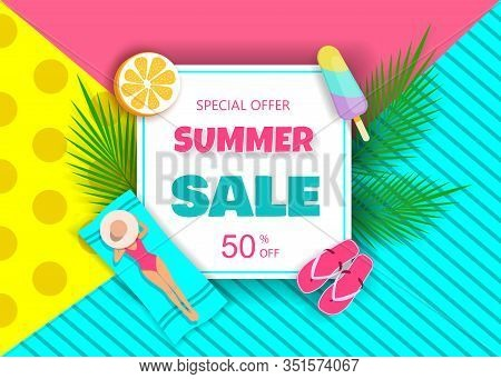Hot Summer Sale Typography Paper Foldable DesignTropical Fruits. Vector illustration for advertising purposes. Hello Summer, summer time, summer day, summer day background, summer banners, summer flyer, summer design, summer with people in the pool, vecto