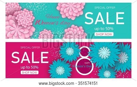 Set Womens Day Sale Poster Design with 50 Discount Offer and Paper Cut Flowers Decorated on acva and pink Background. 8 march, womans day, womens day background, womens day banners, womens day flyer, women's day design, women's day with flowers on red bac