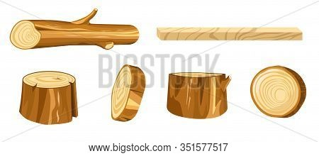 Wood Isolated Icons, Forest Materials Or Timber, Stump And Log