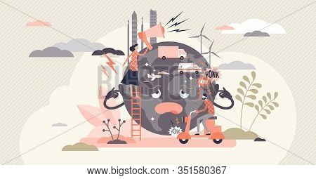 Noise Pollution Concept, Flat Tiny Person Vector Illustration. Sad Globe Character Cartoon With Over