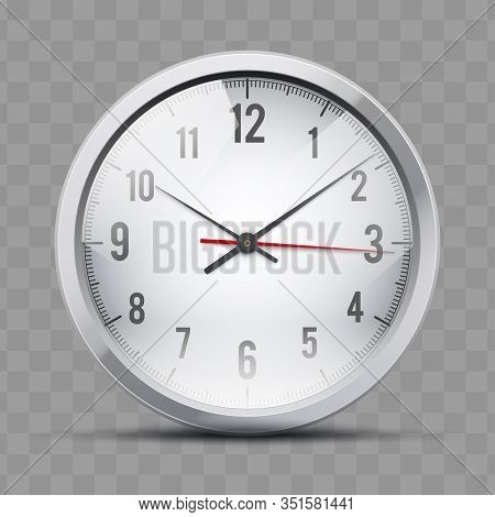 Analog Wall Clock For Office And Home. Element For Business And Financial Concept. Symbol Of Busines