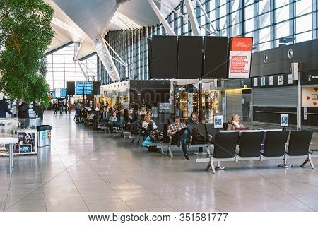 Interior Of New Modern Terminal At Lech Walesa Airport In Gdansk. Lech Walesa International Airport