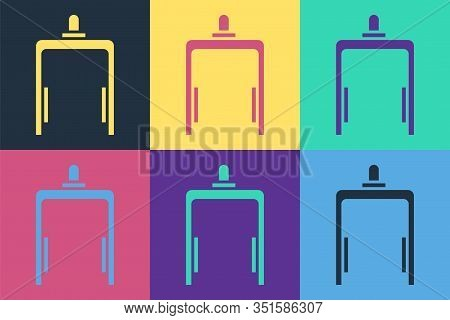 Pop Art Metal Detector In Airport Icon Isolated On Color Background. Airport Security Guard On Metal