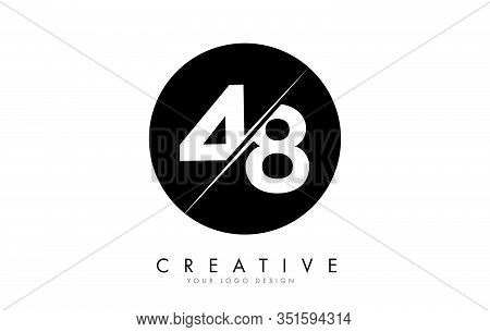 48 4 8 Number Logo Design With A Creative Cut And Black Circle Background. Creative Logo Design.