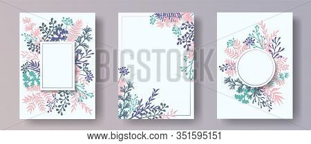Watercolor Herb Twigs, Tree Branches, Leaves Floral Invitation Cards Collection. Herbal Frames Elega