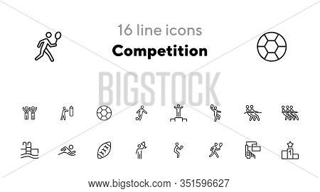 Competition Line Icon Set. Winner, Athlete, Sportsman, Player, Team. Sport Concept. Can Be Used For