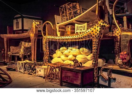 Bratislava, Slovakia - December 14: King Tut Tomb And Treasures At The Tutankhamun Exhibition On Dec