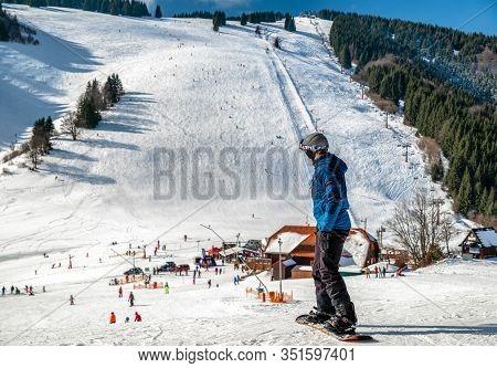 Ruzomberok, Slovakia - February 15: Snowboarder On Slope In Resort Malino Brdo On February 15, 2020