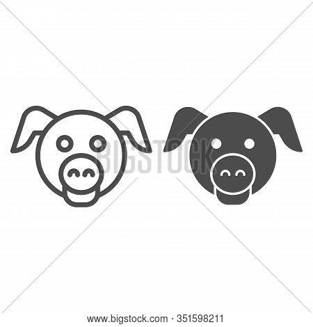 Pig Head Line And Solid Icon. Minimal Pig Face Symbol, Domestic Farm Hog. Animals Vector Design Conc