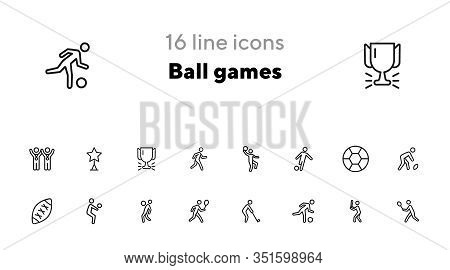 Ball Games Line Icon Set. Volleyball, Football, Soccer, Rugby. Sport Concept. Can Be Used For Topics