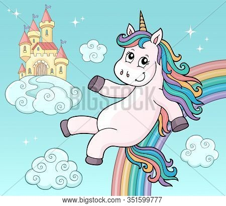 Cute Unicorn Topic Image 5 - Eps10 Vector Picture Illustration.