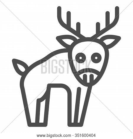 Deer Line Icon. Horned Wild Forest Animal Silhouette. Animals Vector Design Concept, Outline Style P