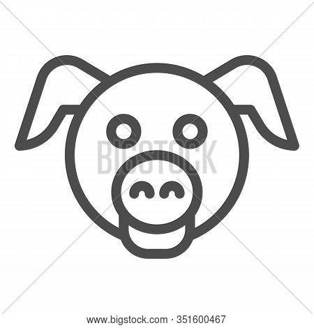 Pig Head Line Icon. Minimal Pig Face Symbol, Domestic Farm Hog. Animals Vector Design Concept, Outli