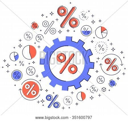 Economy System And Business Concept, Gear Mechanism With Dollar Signs And Icon Set, Allegory Design