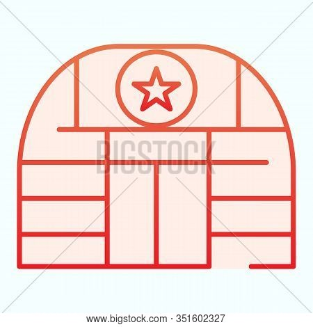 Military Base Flat Icon. Army Building Vector Illustration Isolated On White. Airbase Gradient Style