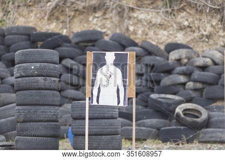 Police, Army And Border Police Gun Training. Firing Weapons And Pistols. Gun Shooting Exercise. Deta