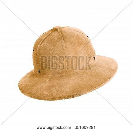 Safari Hat In Khaki Colored Fabric With Snap Fasteners