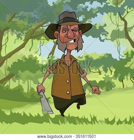 Cartoon Disgruntled Man With A Cleaver In His Hands Strides Through The Woods
