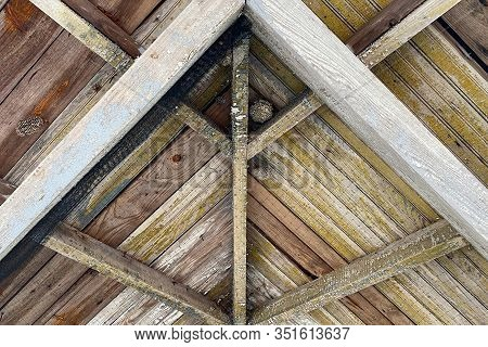 Old Barn Roof Rafters Vintage With Mesh Wire