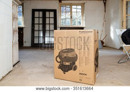 Strasbourg, France - Feb 9, 2020: Delivery Of New Bosch Professional Gas 35 M Class Afc Package Card