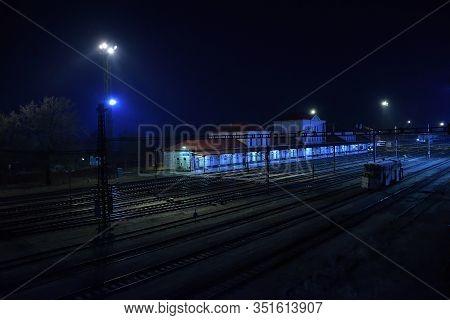 Chomutov, Czech Republic - February 08, 2020: Foggy Night On Empty Train Station