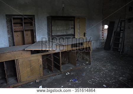 Chomutov, Czech Republic - February 08, 2020: Old Wooden Table In Abandoned House