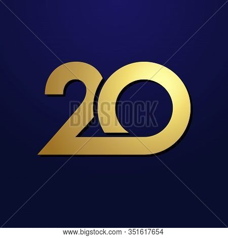 20 Th Anniversary Numbers. 20 Years Old Logotype. Shining Golden Congrats. Isolated Abstract Graphic