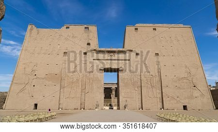 Edfu Is The Site Of The Ptolemaic Temple Of Horus And An Ancient Settlement. Egypt. Edfu Also Spelt