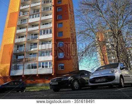 Chomutov, Czech Republic - February 11, 2020: Black Car Opel Astra On Parking Place In Centre Of Cit