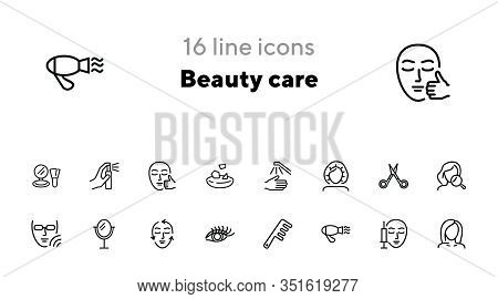 Beauty Care Line Icon Set. Hair Dryer, Solarium, Barber Scissors. Beautician Concept. Can Be Used Fo